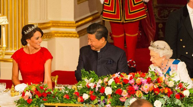 Duchess of Cambridge Takes Pride of Place At State Banquet Honoring Chinese Presidnet