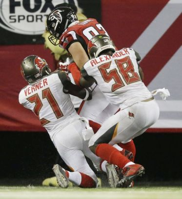 Tampa Bay Buccaneers linebacker Kwon Alexander intercepts Atlanta Falcons quarterback Matt Ryan on a pass intended for tight end Jacob Tamme.