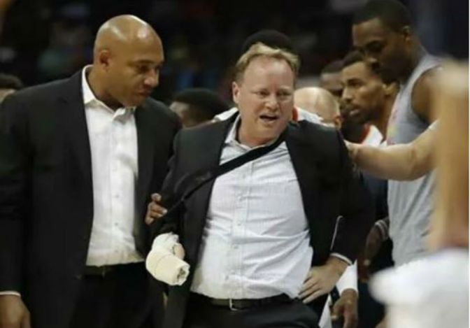 Coach Bud Takes Nasty Collision During Pelicans Game
