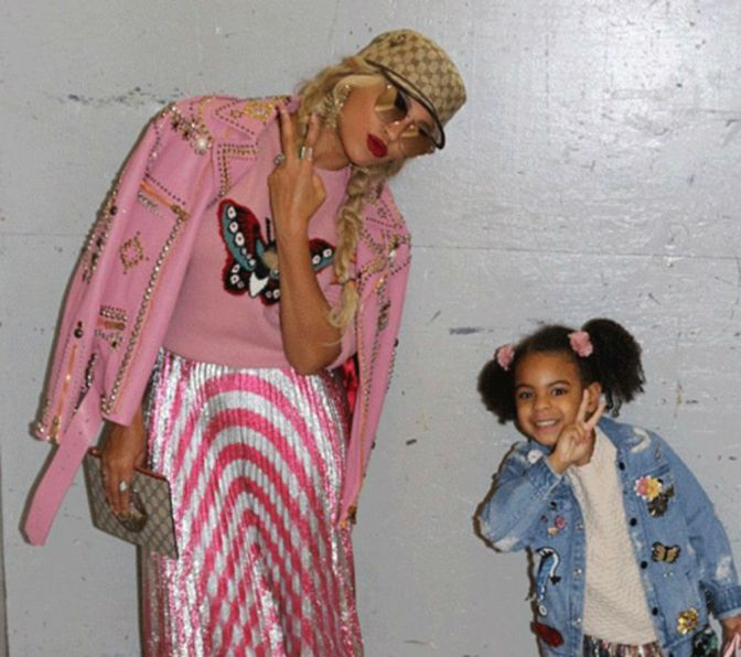 Cuteness Alert: Blue Ivy And Beyonce Gucci Down To The Socks
