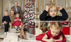 "Princess Gabriella and Prince Jacques stole the show at the Monaco royal family's official Christmas shoot. Photographs of the toddlers and their parents, Prince Albert and Princess Charlene, were posted on the royal palace's official Facebook page along with a festive greeting from the family. A more formal shot — of the family posed in front of a beautifully decorated Christmas tree — was chosen for the official holiday card. It reads ""May the joy and peace of the holiday season be with you in this New Year 2017""."