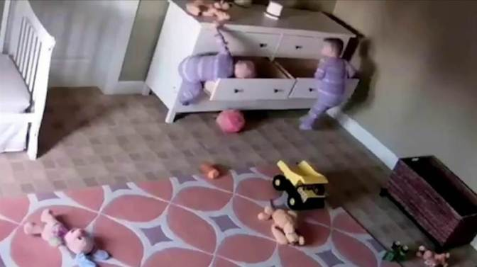 Twin Saves Brother Trapped Under Dresser