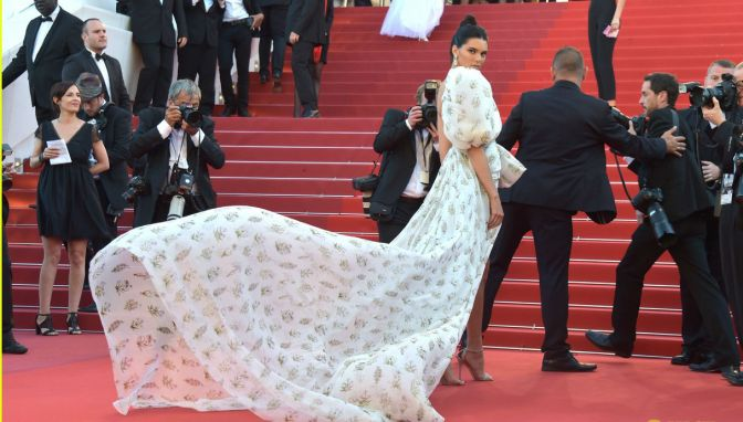 Now That's More Like It! Kendall Jenner 's Billowing Mini-Dress Stuns On The Cannes' Red Carpet