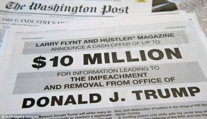 Larry Flynt Puts Up $10 Million For Information Leading To Unfit Donald Trump's Impeachment