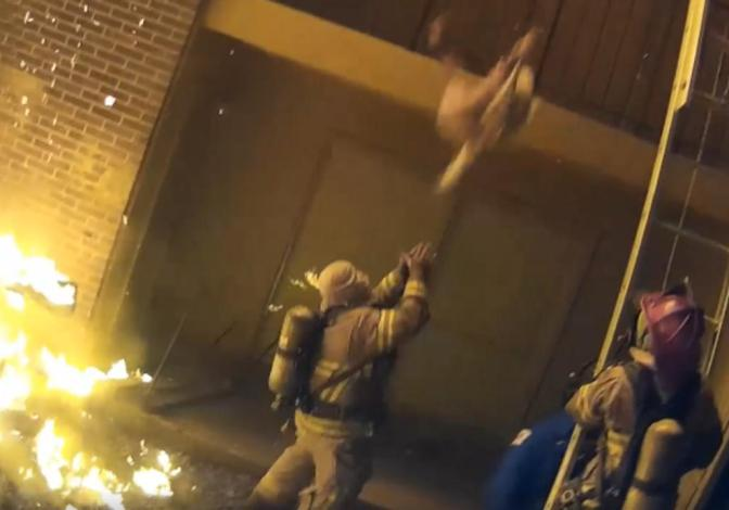Incredible Video Of Dekalb County Fireman Catching Child Thrown From Burning Building
