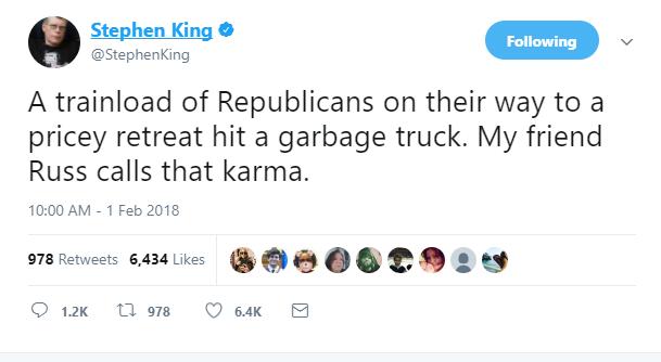 Stephen King Sorry For Train Crash Tweet