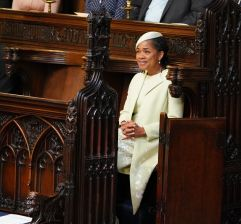 Royal wedding. Doria Ragland takes her seat in St George's Chapel at Windsor Castle ahead of the wedding of her daughter Meghan Markle to Prince Harry. Picture date: Saturday May 19, 2018. See PA story ROYAL Wedding. Photo credit should read: Dominic Lipinski/PA Wire URN:36583439