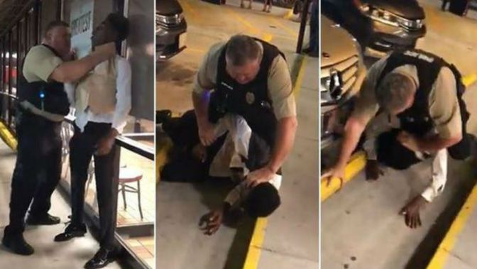 Police Officer Caught On Camera Choking African-American Man Outside NC Waffle House