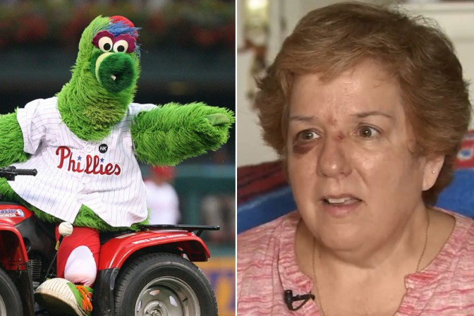 Phillies Fan Injured By Flying Hot Dog Launched By Phanatic