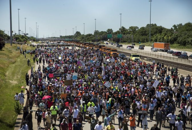 Protesters March Against Chicago Violence