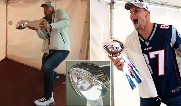 What Was He Thinking? Rob Gronkowski Dents Lombardi Trophy