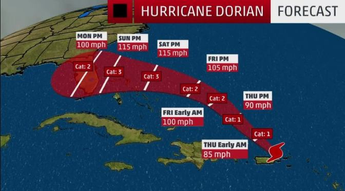 Dorian Expected To Strengthen Into Powerful Hurricane Before Reaching Florida