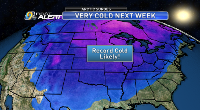 Record Cold Predicted Next Week in Central and Eastern U.S.